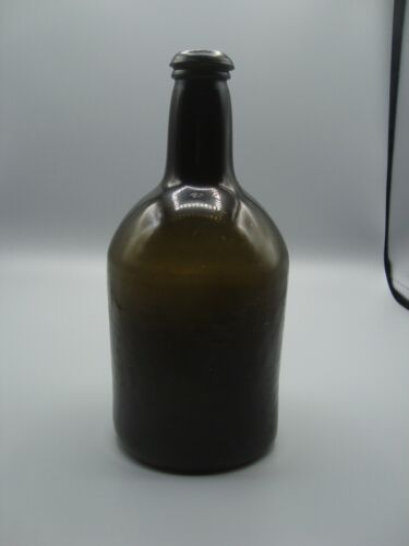 Circa 1780-1820 Pontil Antique Black Glass Beer / Ale Bottle