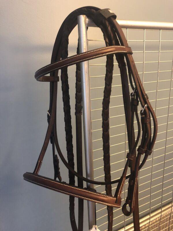 EUC HK Americana Plain Raised Bridle- Full-Laced Reins Oakbark Leather