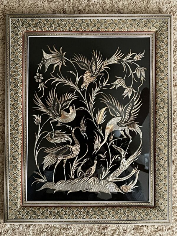 Vintage Middle Eastern Persian Khatam Frame W/Handmade Copper Art 49x39 cm