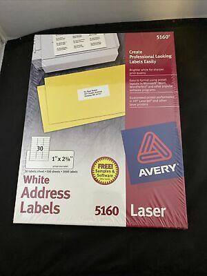 Nib Avery Easy Peel White Address Labels 5160 - Pack Of 100 Sheets - 3000 Labels