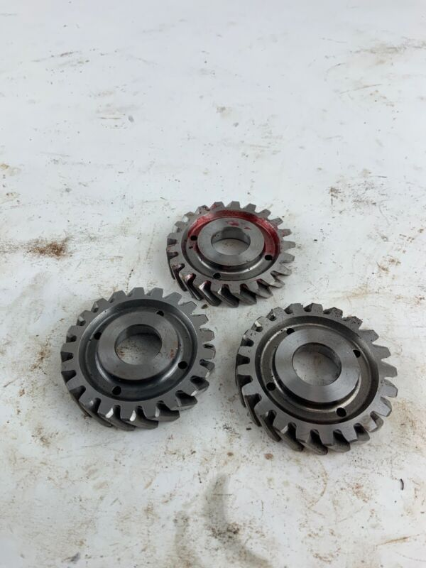 Industrial Machine Age Steel Lot 3 Small Gears Steampunk Art Parts Lamp B12