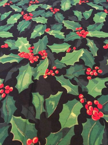 Tablecloth Christmas Green Holly and Red Berries