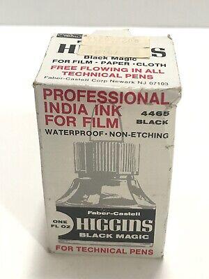Vintage Higgins Professional India Ink For Film & Paper 4465 Black New Sealed