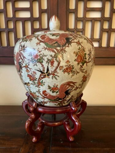 """10"""" FRENCH COUNTRY ROOSTER Crackled Finish Ginger Jar~Chinese Asian~Birds/Floral"""