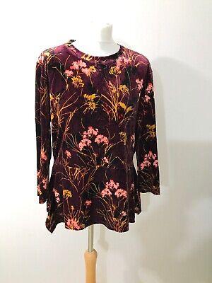 Ivanka Trump L/G Top Stretch Floral Velvet Asymmetric Hem 3/4 Sleeve Blouse
