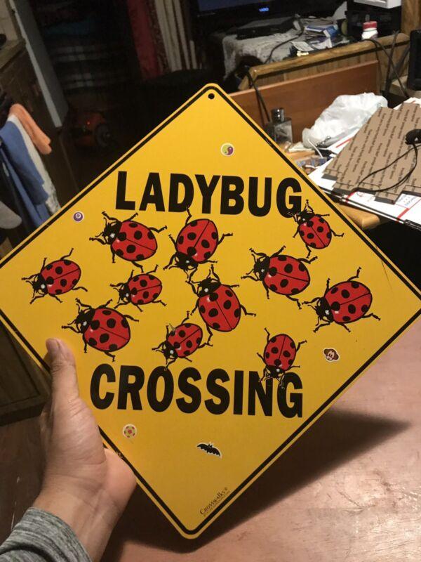 LADYBUG CROSSING SIGN aluminum novelty decor painting art home signs ladybugs