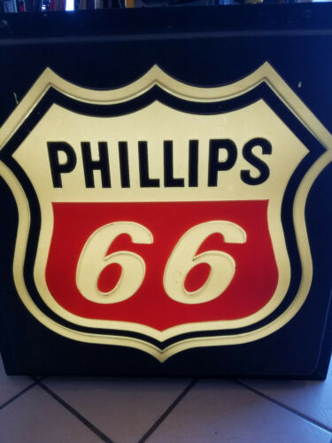 "VINTAGE ORIGINAL RARE PHILLIPS 66 GAS STATION LIGHT UP SIGN 32"" X 32"""