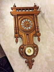 Antique Black Forest Wall Clock w/ Barometer & Thermometer Nice Gallery Topper