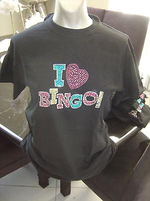 NEW Rhinestone Studded I LOVE BINGO Bling T-Shirt  Sizes S, M, 2XL - I Love Bingo