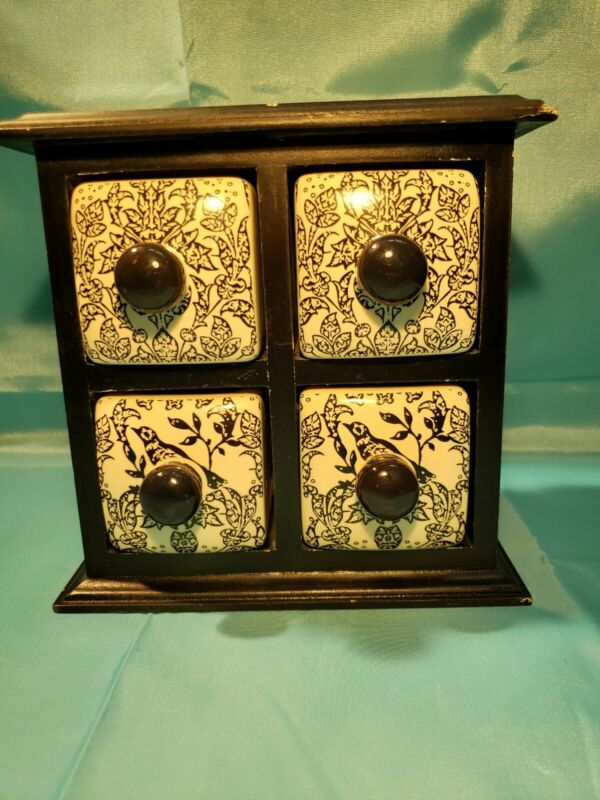 """Apothecary 4 Drawer Spice Cabinet Box Black & White Decor Wood + Ceramic 7"""" Tall"""