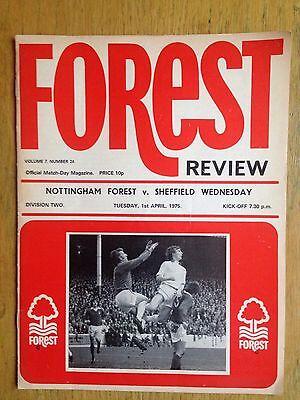Nottingham Forest v Sheffield Wednesday 1974/75 programme