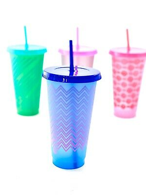 Color Changing Straws (4 Pack Color Changing Patterned Tumblers &)
