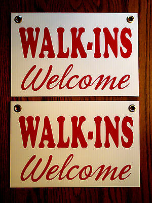 2 Walk-ins Welcome Coroplast Signs With Grommets 8x12 For Barber Shop