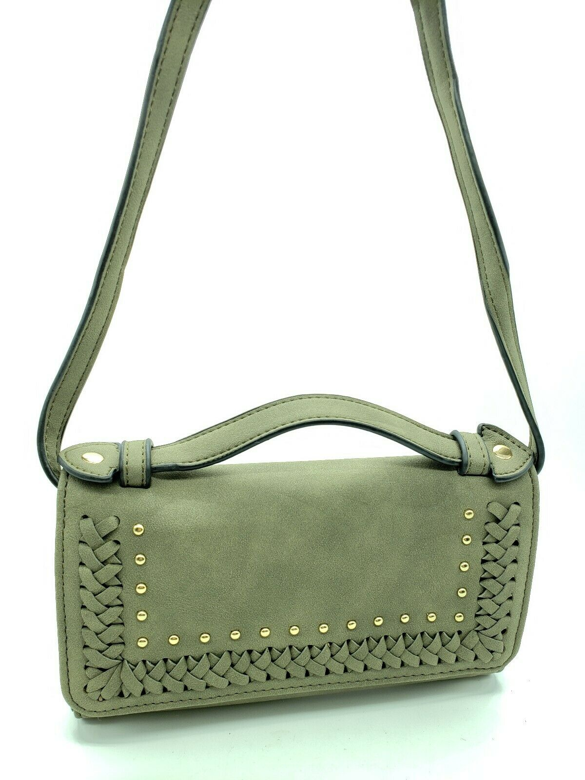 Violet Ray CrossBody Olive Braided Wallet Purse w/ Brass Studs Clothing, Shoes & Accessories