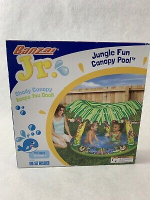 Jungle Fun Pool (NIB NEW Banzai Jungle Fun Canopy Kids inflatable Shady Pool Fun in the Sun )