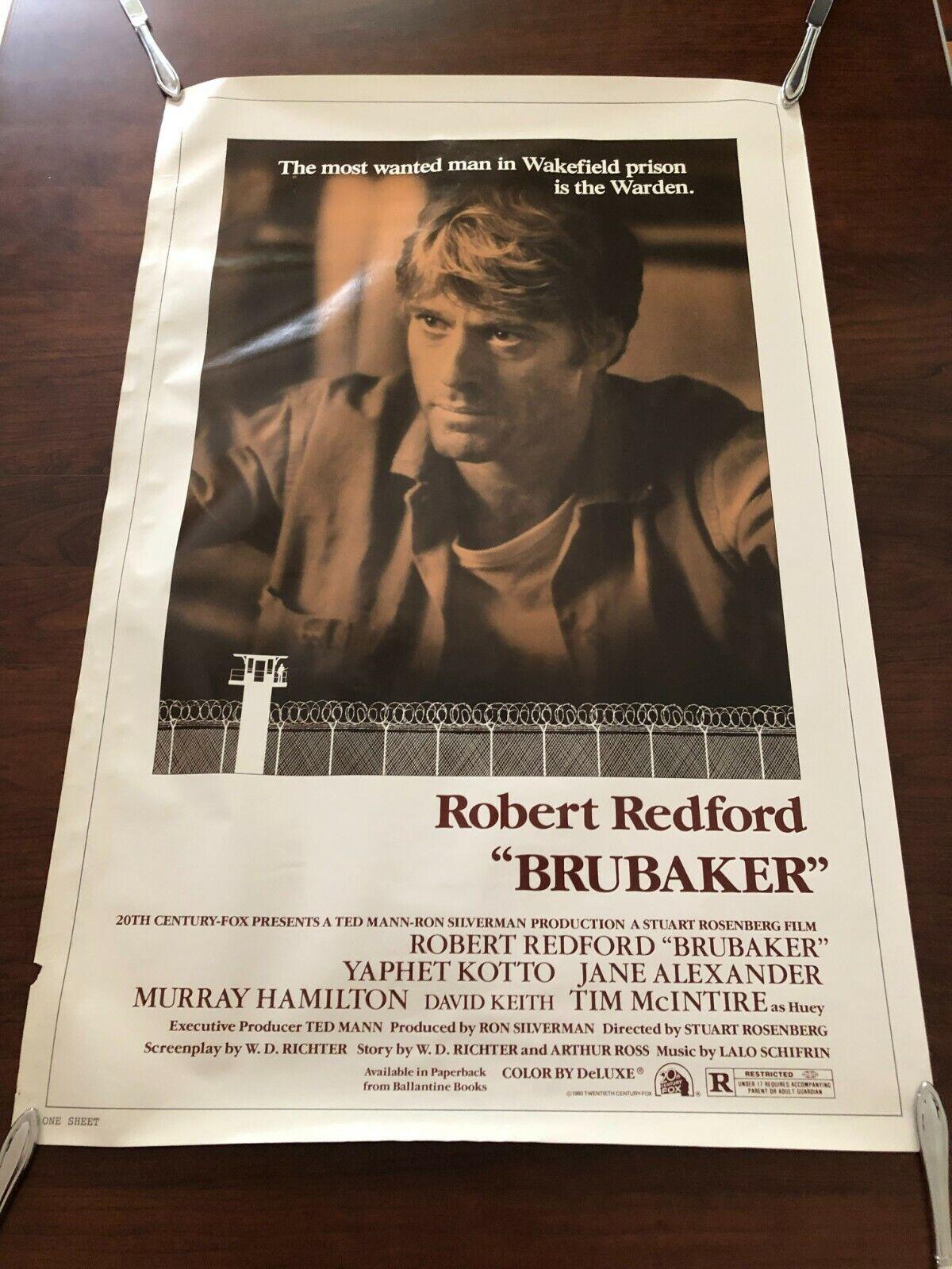 1980 ROBERT REDFORD BRUBAKER ONE SHEET 20TH CENTURY ORIGINAL POSTER - $7.90