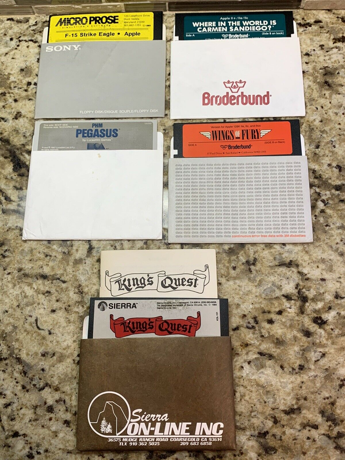 Computer Games - LOT OF 5 VINTAGE COMPUTER GAME DISCS-F-15 STRIKE EAGLE-KINGS QUEST-WINGS OF FURY