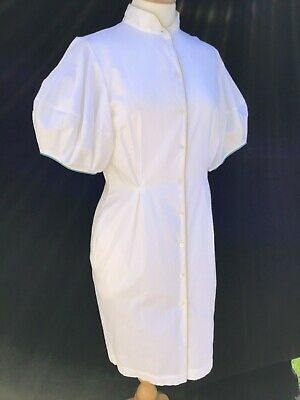 RRP $723! PAUL SMITH Designer White Cotton Short Sleeve Shirt Dress size 44