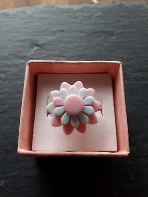 New childs pink blue flower plastic ring UK size F! Childrens kids jewellery!