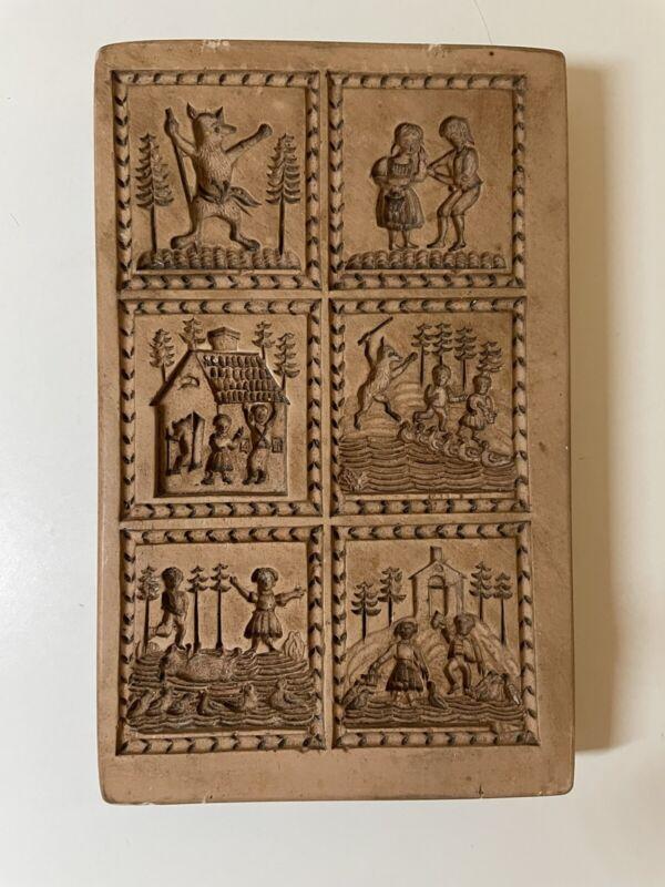 Antique West Germany Ceramic Hansel Gretel Springerle Cookie Mold Press Stamp