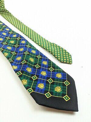 Vintage Gianni Versace Silk Tie Green Blue Plaid Medusa Head