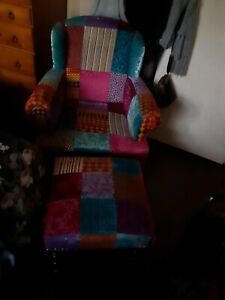 Patch work chair n foot stool