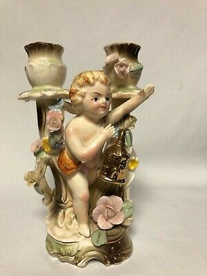 - UCAGCO Cherub Double Candlestick Holder Applied Flowers Gold Birdhouse