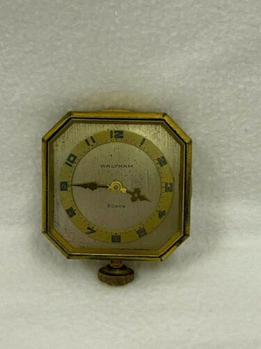 Vintage Antique Waltham Car Automobile 8 Day Brass Clock Works