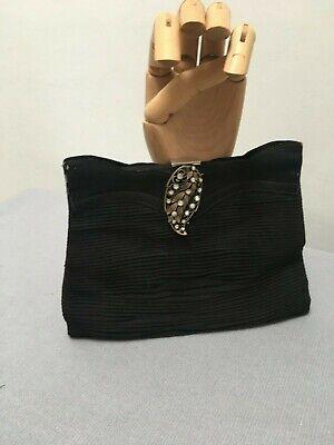 Vintage 1930s Ornate Diamante set clasp Black pleated fabric Evening Clutch Bag