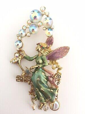 KIRKS FOLLY Champagne Bubbles Year 2000 Fairy Brooch Enamel Sparkle Pin