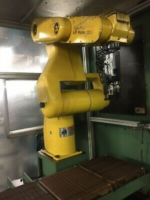 Fanuc Lr Mate 120i Robot With Cage Programming Pendant Gripper Head And Cables