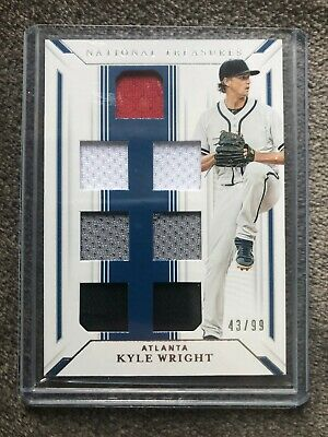 2019 NATIONAL TREASURES KYLE WRIGHT 3 COLOR 6 PU JERSEY CARD #D /99