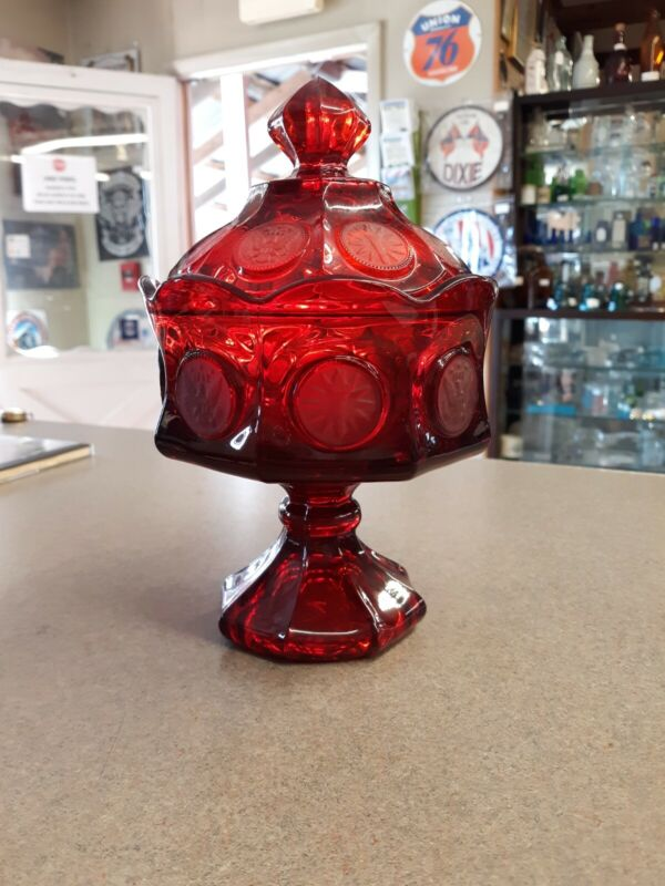 Fostoria Coin Ruby Red Glass Vintage Footed Compote Candy Dish