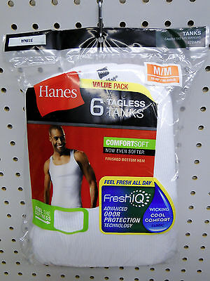 """Value Pack 6 Men's Hanes Tagless Cotton Athletic A-Shirts Tank Top Medium 38-40"""" for sale  Shipping to India"""