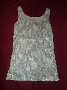Old Navy Gray Beige Snake Print Sequined Tank Top Women's Size M Medium NEW NWT