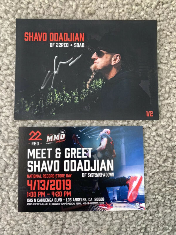 """SHAVO ODADJIAN, """" SYSTEM OF A DOWN"""", AUTOGRAPHED MEET AND GREET CARD"""