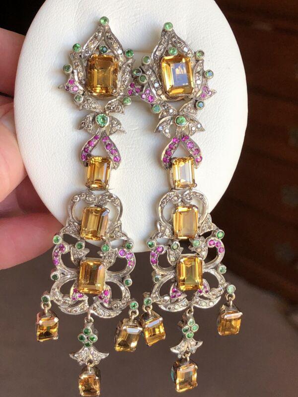 Vintage Estate 14K 30ct Citrine Ruby Emerald Diamond Chandelier Pierced Earrings