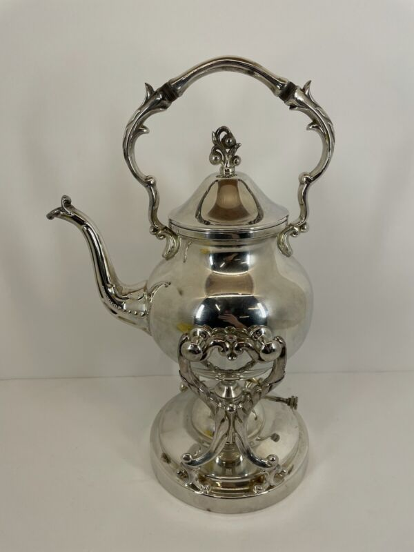Elegant Vintage Silver on Copper Coffee / Tea Kettle Stand Hallmarks With Warmer
