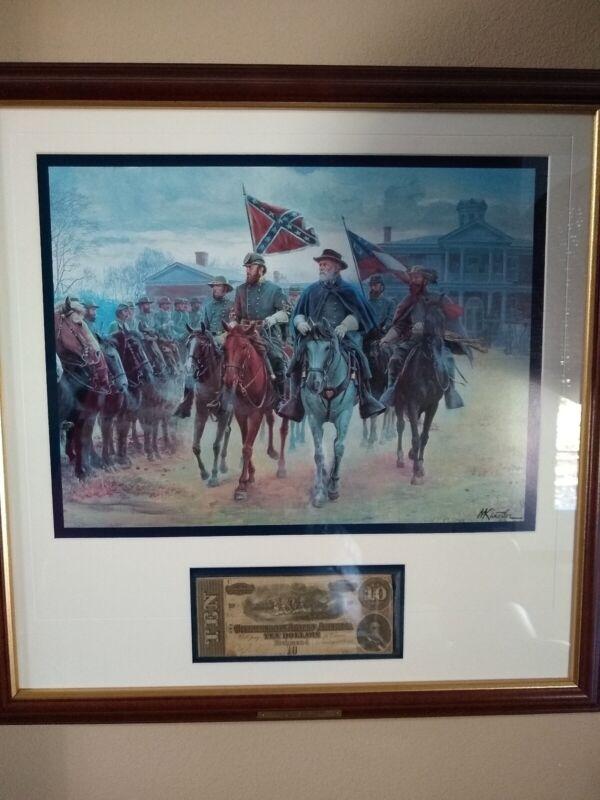 Legends in Grey By Mort Kunstler Commemorative Postal Society w/CSA $10 Bill