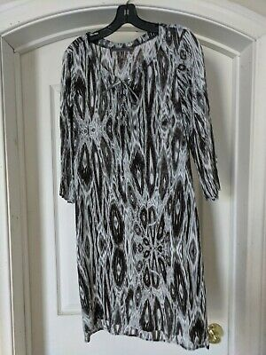 Anthropologie Velvet Brand 3/4 Sleeve Stretch Cotton Lace Up V Neck Dress L