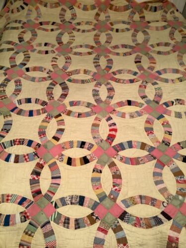 """Vintage Double Wedding Ring Quilt ALL Hand Stitched 73"""" x 83"""""""