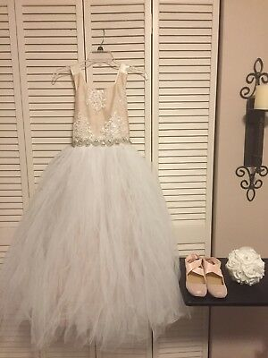 Flower Girl Dress For Wedding Gown Lace Size 7/8 Shoes and Flower Ball - Girls Dress Shoes For Wedding