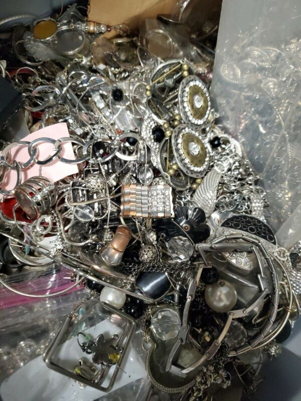 5 LB Silver Tone Repair Harvest Craft LOT BETTER Jewelry than most scrap lots!!