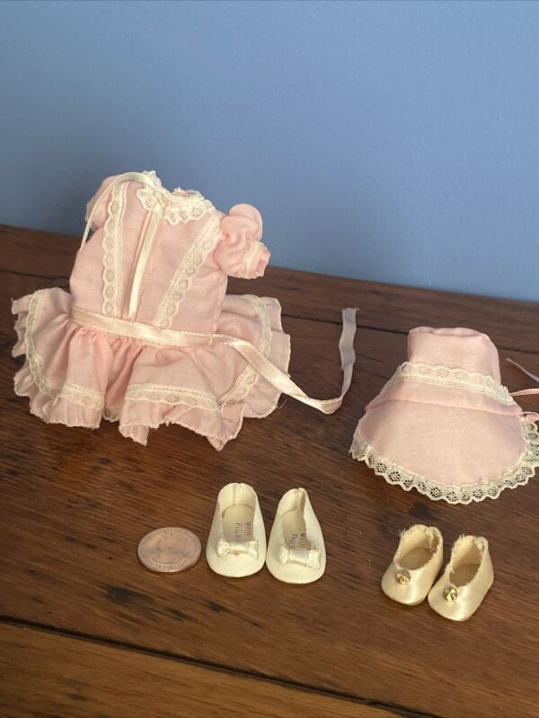 "Doll Clothes Outfit Small 12"" Doll dress bonnet  pink 2pr shoes 1 pr ginny vtg"
