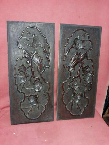 Pair Antique Japanese Wood Carving  Sculpture Panels