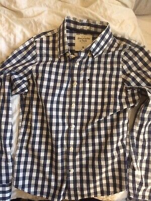 Abercrombie & Fitch Mens Medium Button Up Muscle Shirt Blue/White & Moose Logo