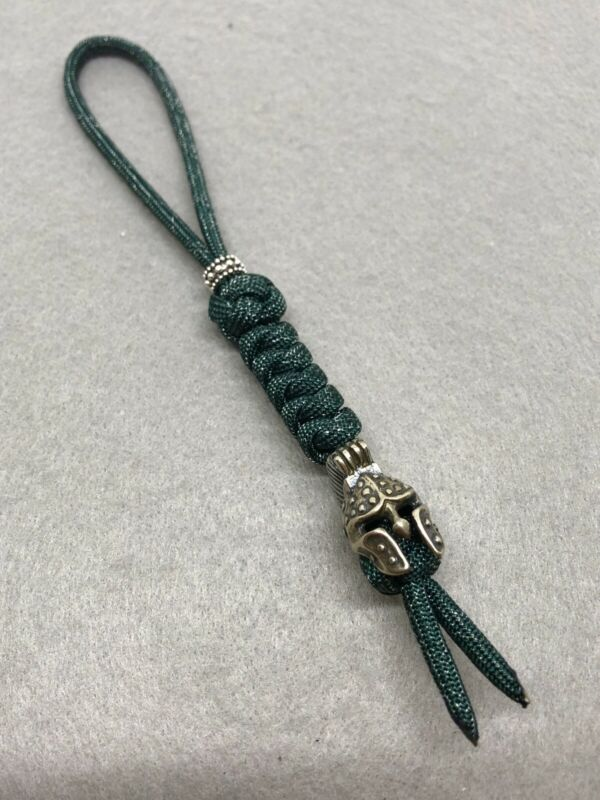 550 Paracord Knife Lanyard Green Tweedish Cord and Spartan Warrior Helmet Bead