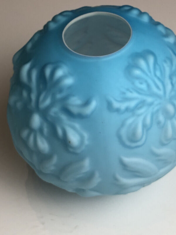 Gone With The Wind Glass Globe Lamp Shade Blue Satin Embossed Iris GWTW
