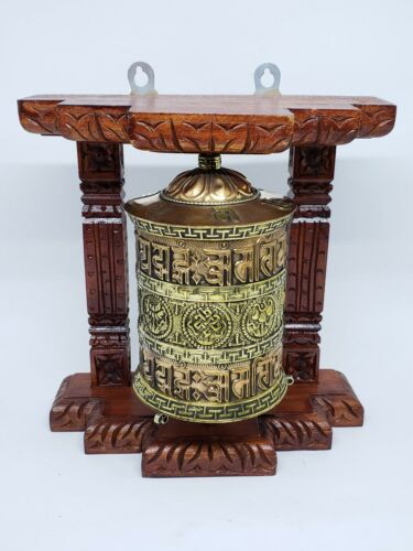 Tibetan Buddhist Handcrafted Spinning Prayer Wheel Wall Hanging Design ~ WO-586A
