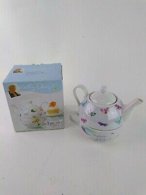 Kathy Davis Scatter Joy 2 Piece Set Tea For One Teapot w/ Lid & Mug Butterflies